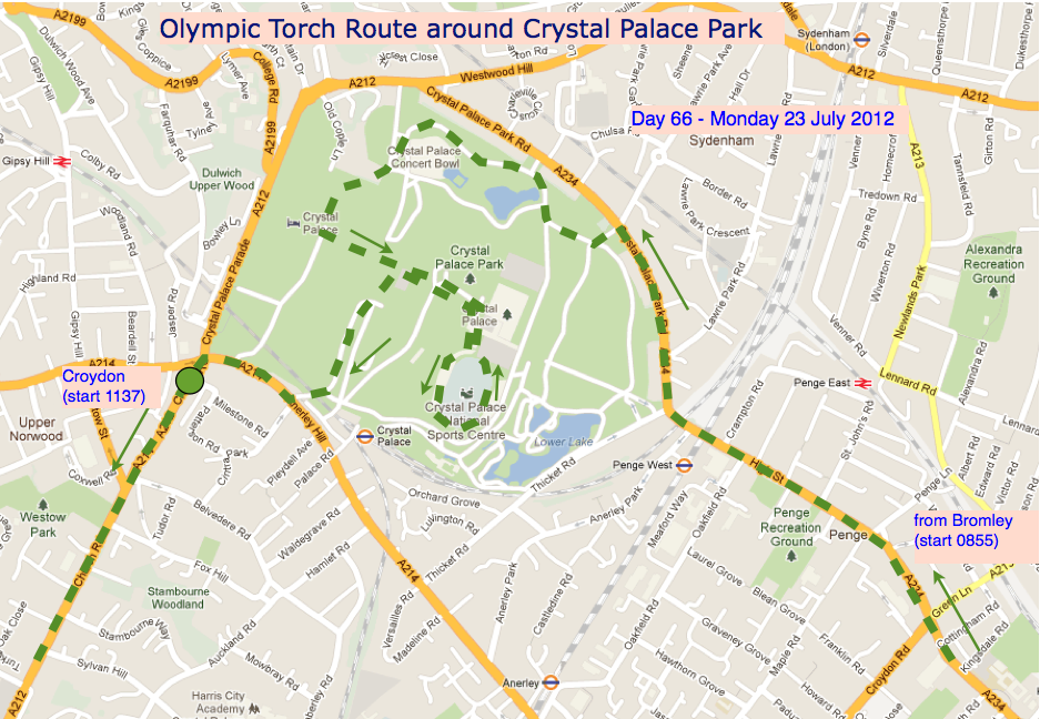 running the torch through the park for the olympics
